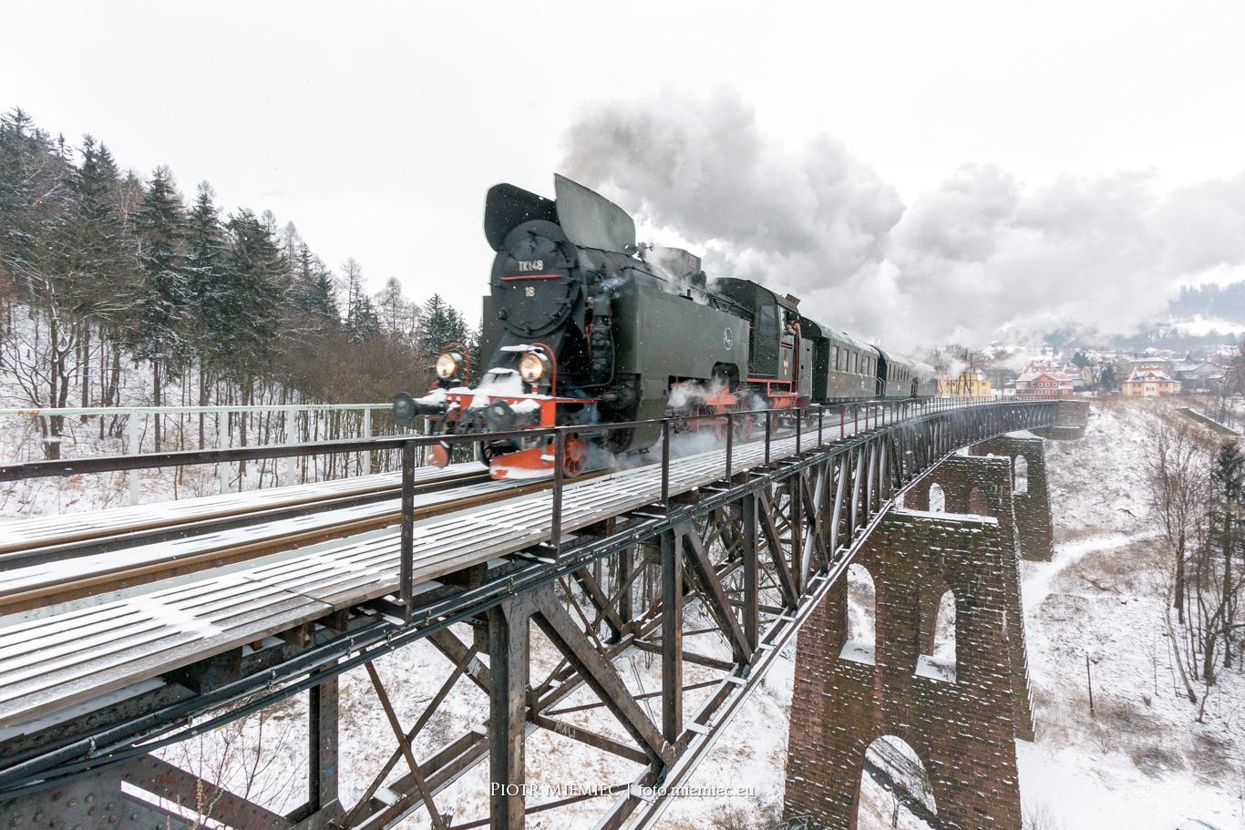Parowóz TKt48-18 Nowa Ruda most kolejowy